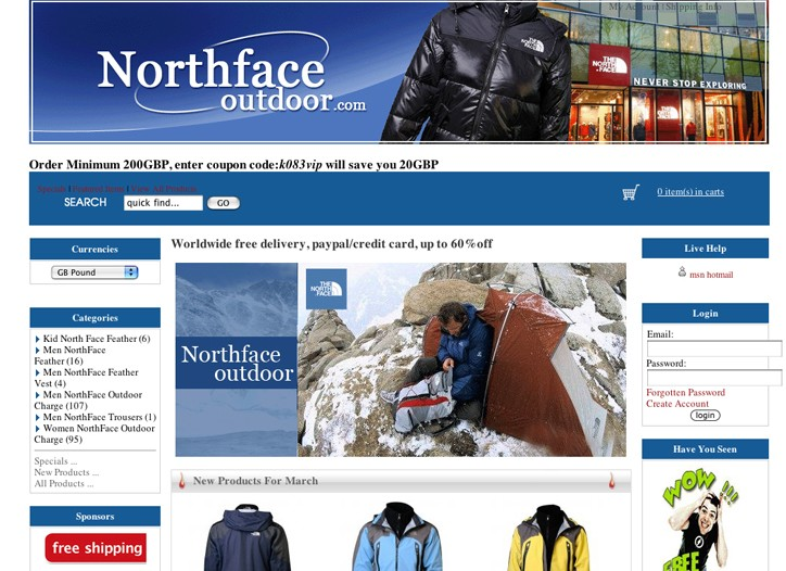 The bogus site of The North Face.