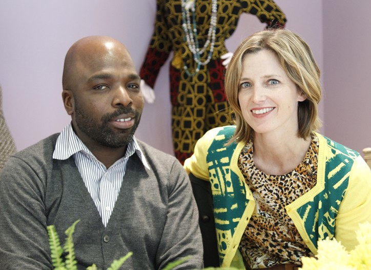 Duro Olowu with Amanda Brooks in his design.