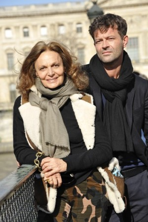 Diane von Furstenberg and Yvan Mispelaere on the Pont des Arts in Paris.