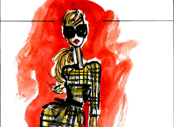 A dress sketch from the Jason Wu and Bergdorf Goodman collaboration.