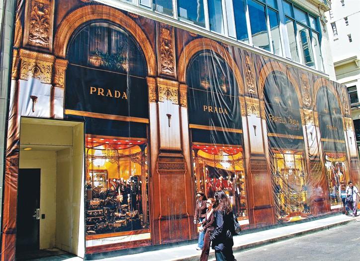 Outside Prada in San Francisco.