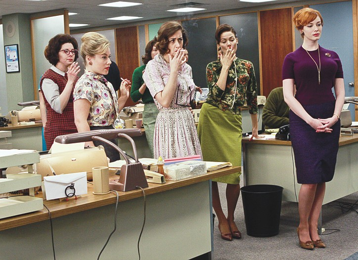 "Sheer hosiery is no longer the office staple it once was, as seen here in ""Mad Men."""