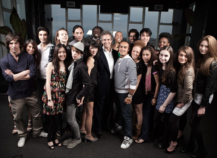 Alessandro Benetton and the winners of  the global casting campaign.