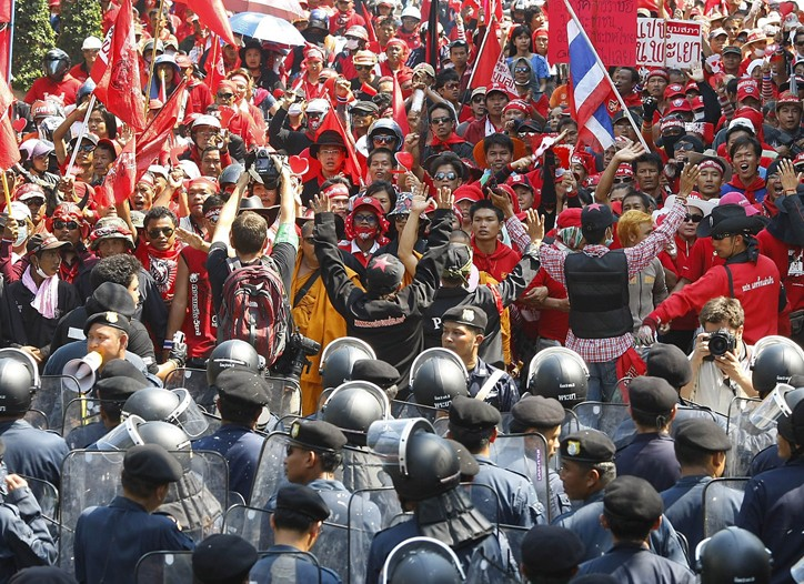 Protests against the government continued in Thailand on Monday, disrupting business.