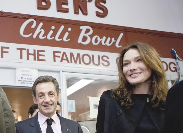 French President Nicolas Sarkozy and Carla Bruni-Sarkozy at Ben's Chili Bowl in Washington.