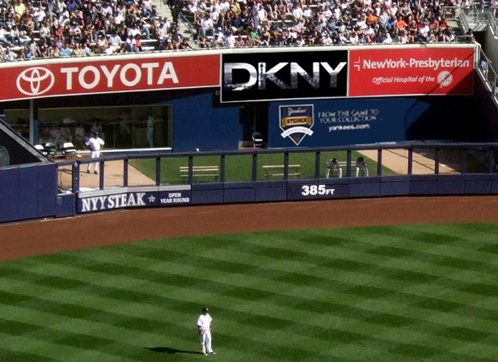 The DKNY billboard in Yankee Stadium.