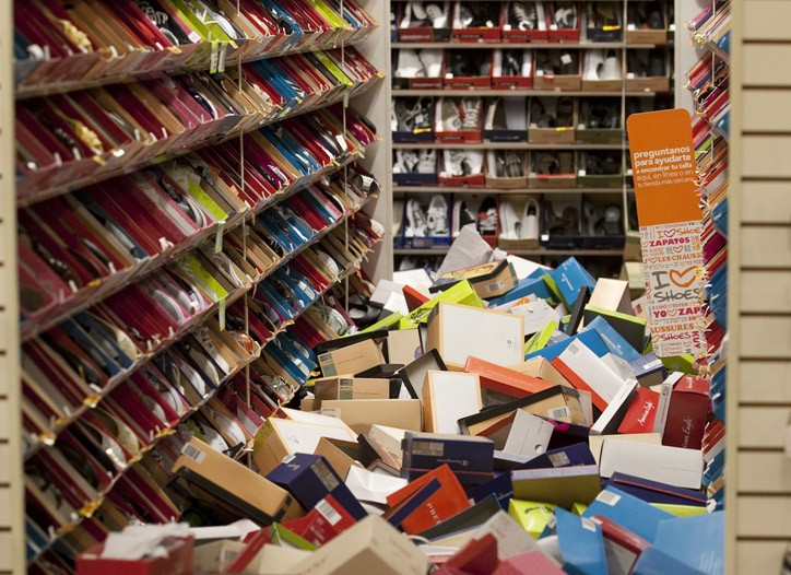 Shoe Boxes in the aisles of a Payless store in Calexico, Calif.