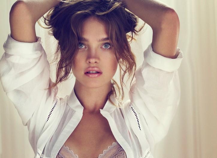 Natalia Vodianova models Natalia Pour Etam lingerie.