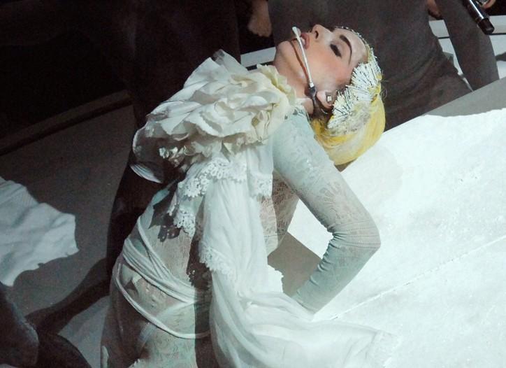 Lady Gaga performing in Tokyo.