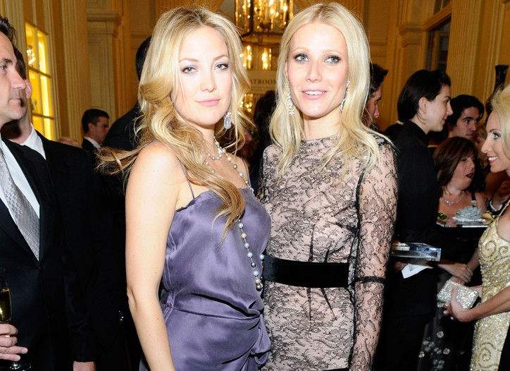 Kate Hudson in Lanvin and Chopard jewelry with Gwyneth Paltrow in Antonio Berardi and Chopard jewels.