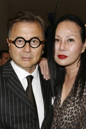 Michael Chow with Eva Chow in Lanvin.