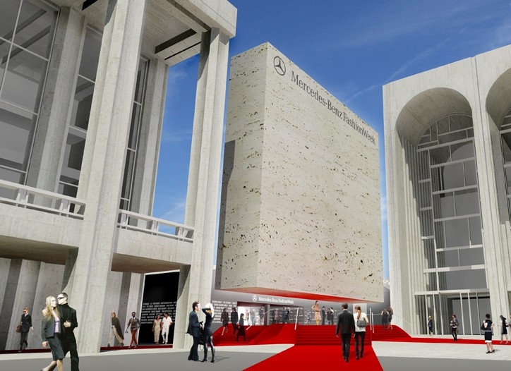 A rendering of Mercedes-Benz Fashion Week façade at Lincoln Center.