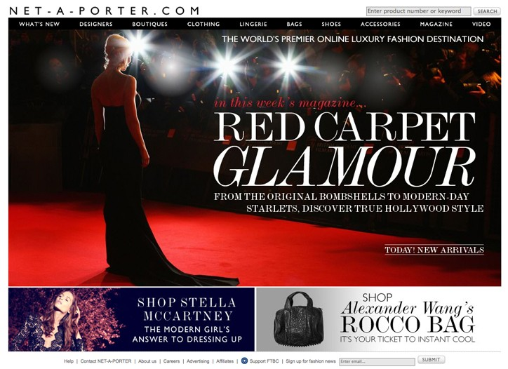 The Net-a-Porter home page.