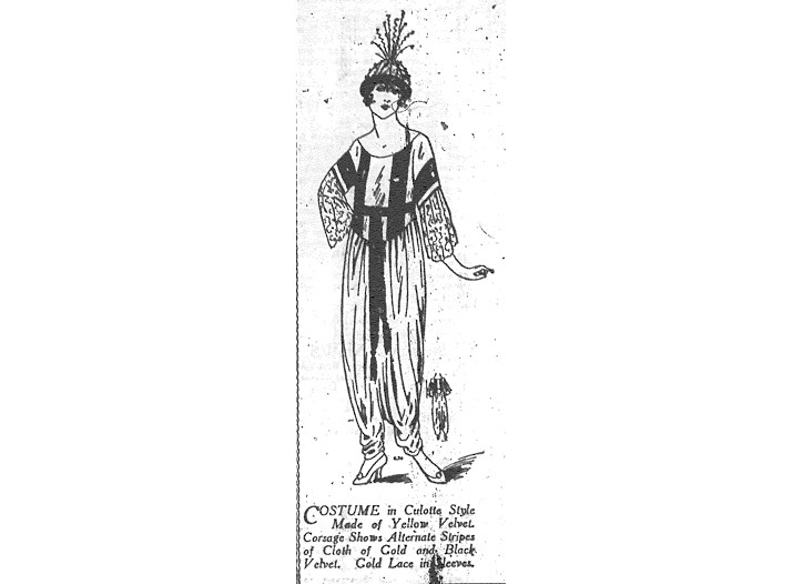 A sketch of one of Paul Poiret's costumes for Theatre Michel's Revue by Rip.