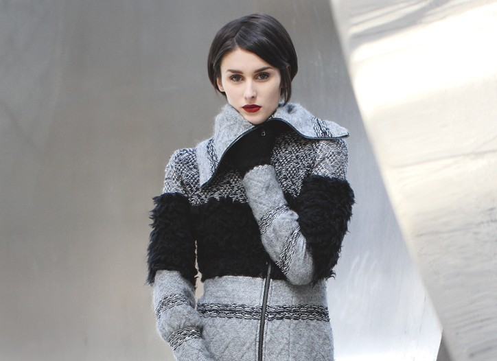 Yuna Yang's elastic-backed wool and mohair coat, worn with BCBG Max Azria shoes, DKNY Hosiery tights and Yeohlee gloves.