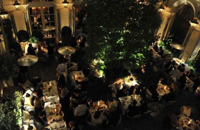 The courtyard restaurant at the Ralph Lauren store in Paris