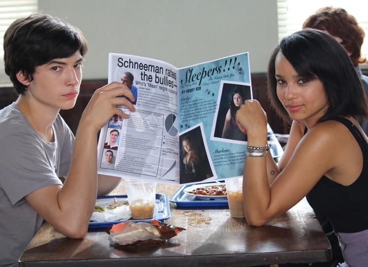 """Ezra Miller and Zoë Kravitz in """"Beware the Gonzo."""""""