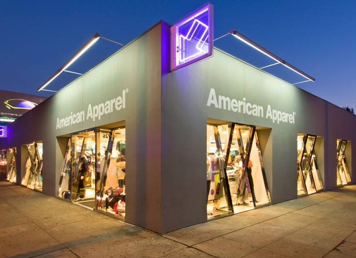 Shares of American Apparel fell more than 40 percent Wednesday.
