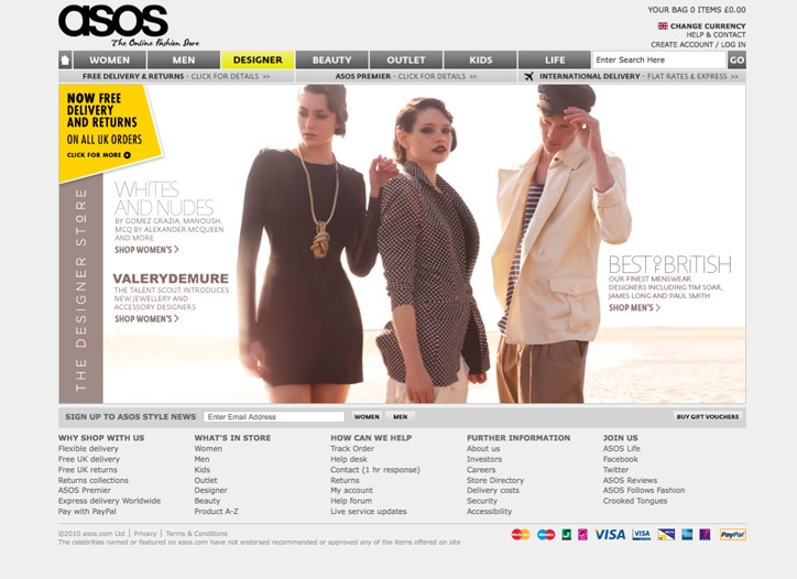 Asos.com stocks 800 men's and women's brands.