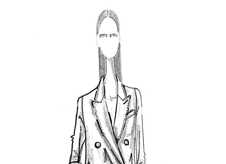 A sketch from the upcoming women's collection for Brioni