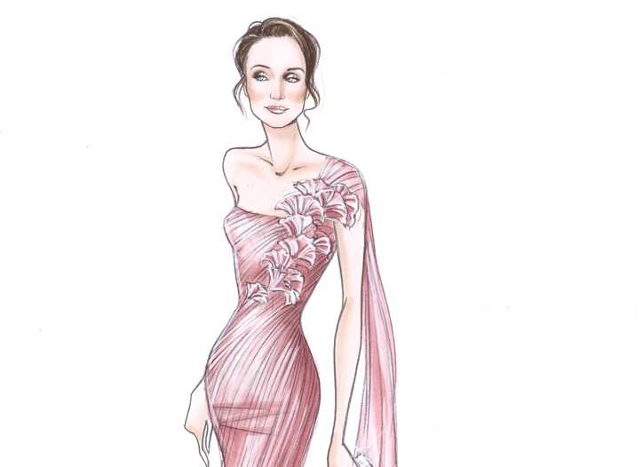 A sketch of the Giorgio Armani Prive gown Kristen Scott Thomas is due to wear for the opening night dinner at the Cannes International Film Festival.