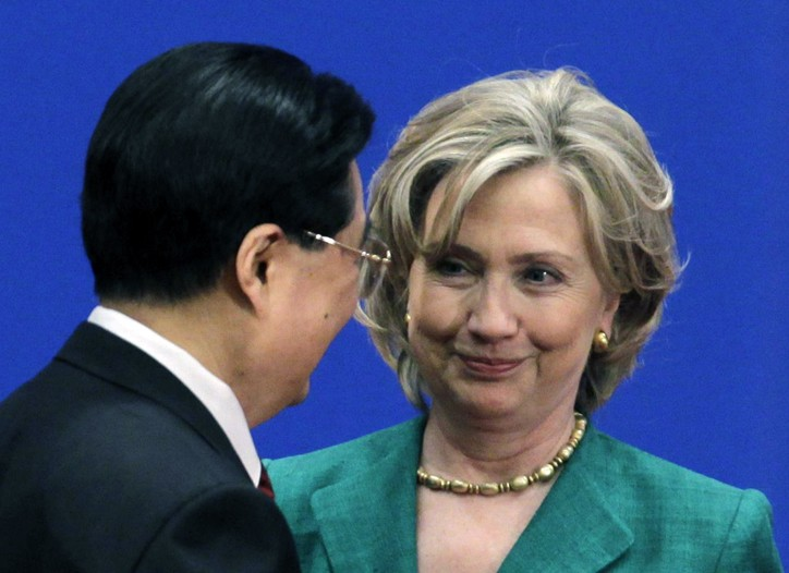 Hu Jintao and Hillary Clinton