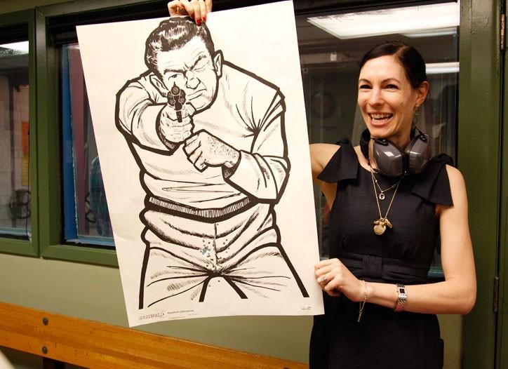Novelist Jill Kargman shows off her skills at the Westside Rifle & Pistol Range.