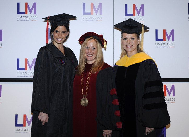 From left, LIM College Class of 2010 valedictorian Sara Molinaro, LIM college president Elizabeth S. Marcuse and Mindy Grossman.