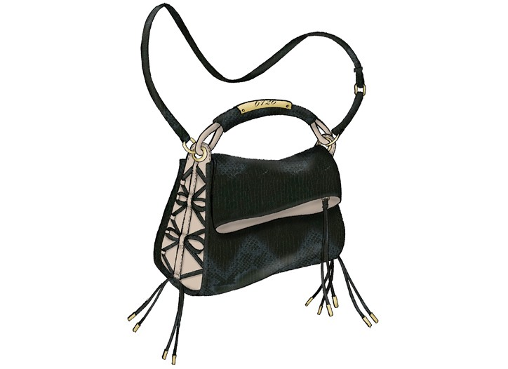 6126's Blaze bag, black and nude snake embossed leather with napa trim and interlaced corset gusset detail.