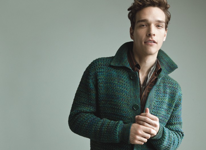Prada's wool cardigan worn with Missoni's cotton shirt, Gucci's wool pants and Paul Smith scarf.