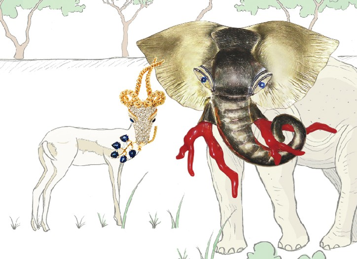 The animal kingdom has long offered rich inspiration for jewelers. Among the bold current pieces: Jean Schlumberger for Tiffany & Co.'s gold, platinum and diamond gazelle brooch and Fabrice Paris' elephant head in metal and faux-coral.