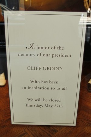 Memorial signs were installed at the Paul Stuart store on Wednesday.