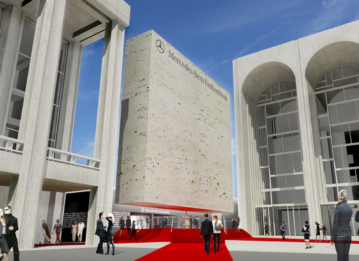 A rendering of the new layout at Lincoln Center for Mercedes-Benz Fashion Week.