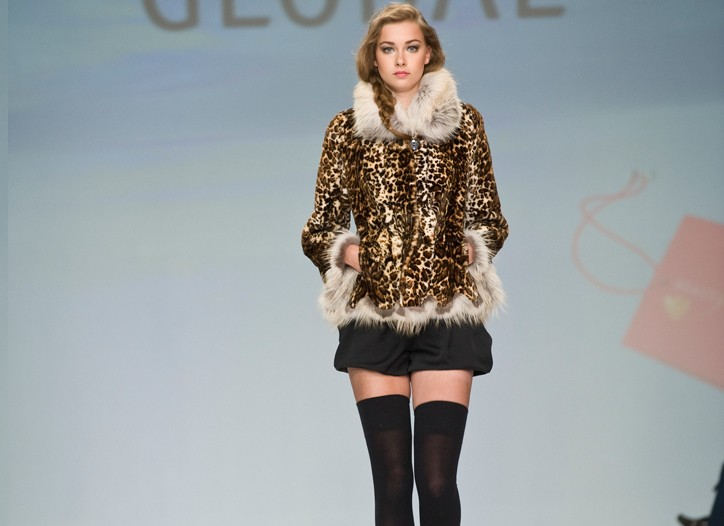A printed sheared jacket from Global Furs.