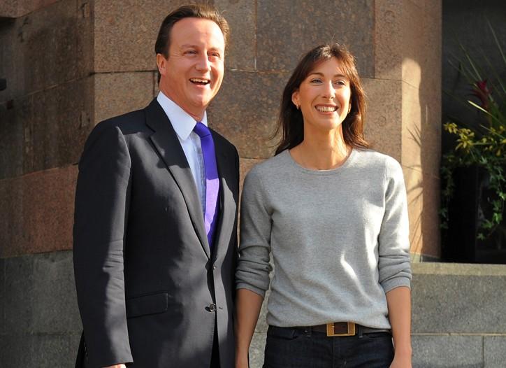 British Prime Minister David Cameron and wife Samantha.