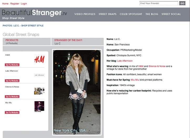 The website Beautiful Stranger.