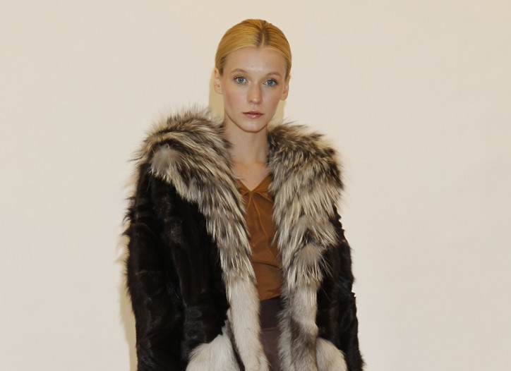 A look from Zac Posen's fur collection.