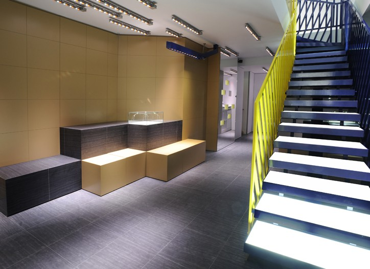 View of the new Balenciaga men's store in Paris.