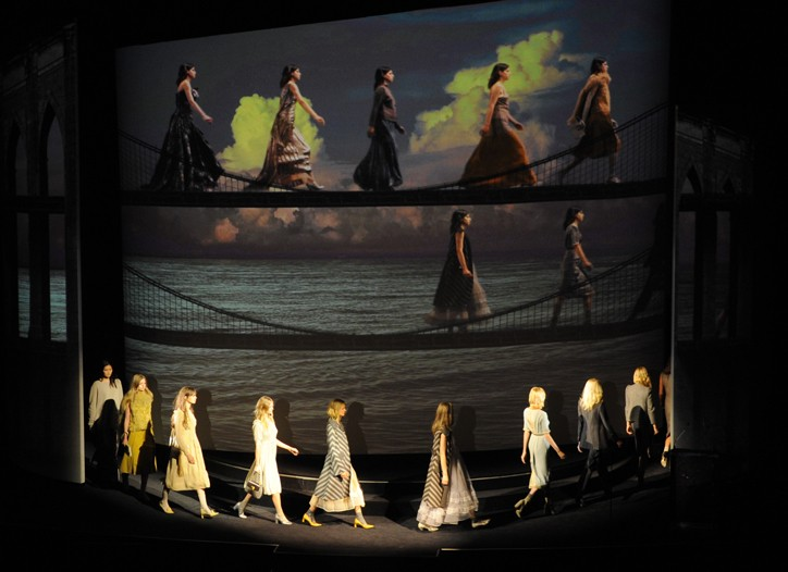 Models display the season's looks onstage and in a CFDA video.