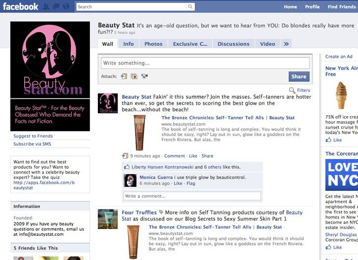 BeautyStat's Facebook homepage.