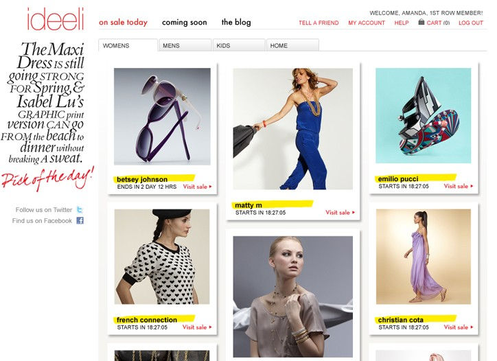 Ideeli hired House + Holme to retool its Web site with more of an editorial feel.