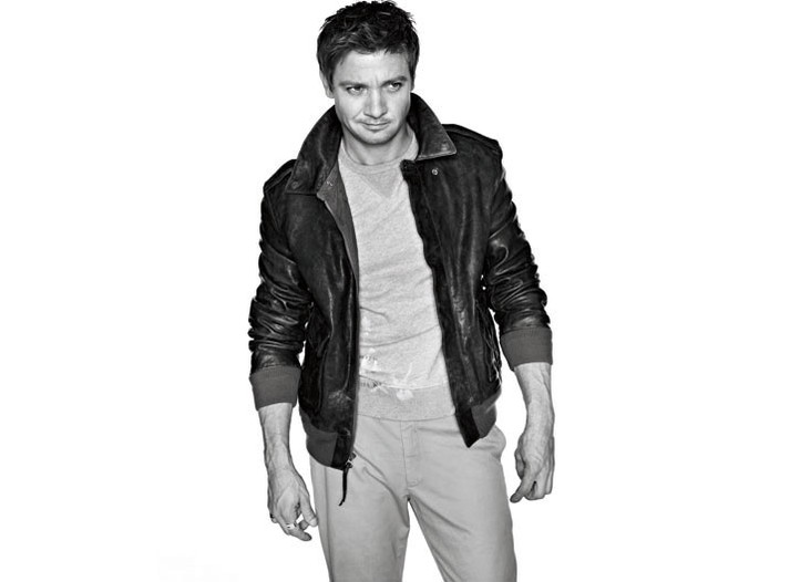 Jeremy Renner in Polo Ralph Lauren's leather jacket, J. Crew's cotton sweatshirt and Giorgio Armani's cotton pants.