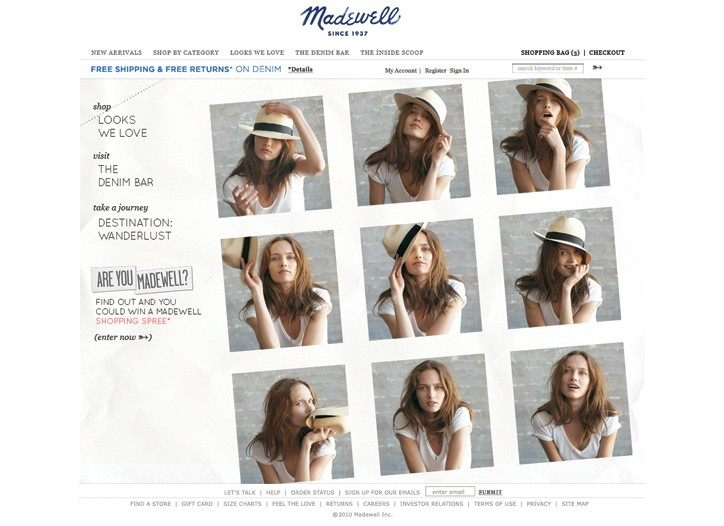 The Madewell.com home page.