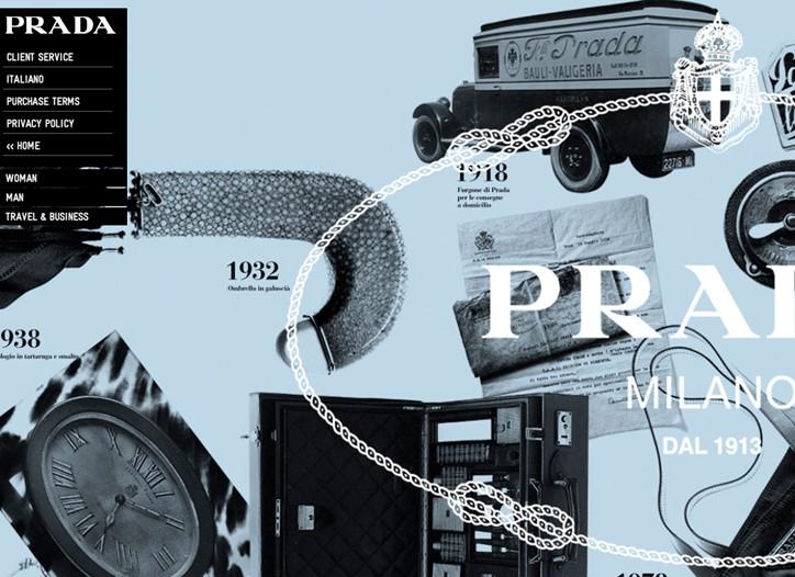 A screen shot of Prada's web page.