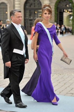 Queen Rania at Princess Victoria of Sweden's wedding celebration.