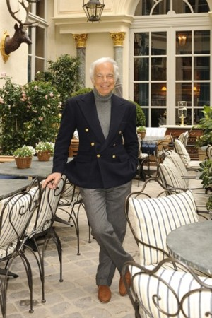 Ralph Lauren in the courtyard of the Paris flagship.