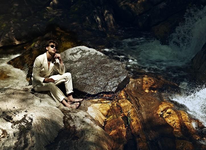 Marc Jacobs' cotton suit. Giles & Brother and Sku bracelets; Gucci sandals; Bottega Veneta sunglasses.