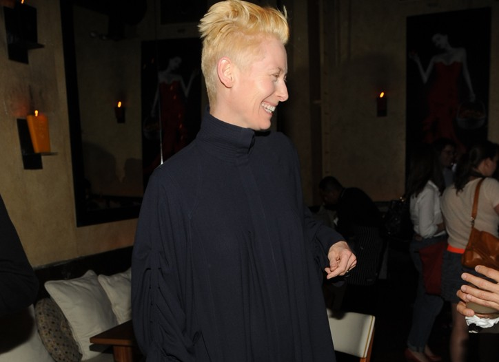 """Tilda Swinton in Fendi at the """"I Am Love"""" afterparty at Barbounia."""