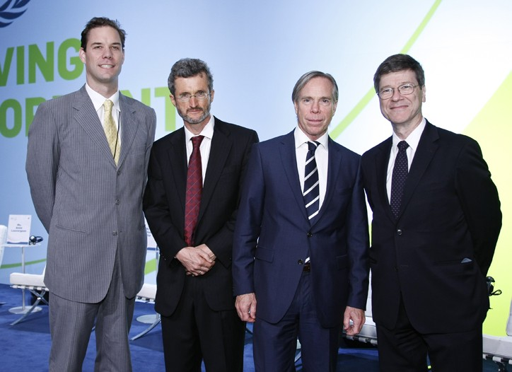 John McArthur, Georg Kell, Tommy Hilfiger and Jeffrey Sachs.