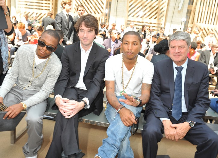 Lupe Fiasco, Antoine Arnault, Pharrell Williams and Yves Carcelle Front-Row at Louis Vuitton Men's RTW Spring 2011.